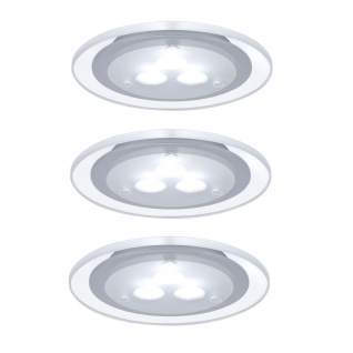 Paulmann Möbel Einbauleuchte Set Deco LED 3x3W 9VA 230V/350mA 100mm Chrom matt/Acryl/ Metall