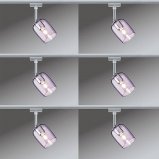 6er Set Paulmann URail Schienensystem Spot Blossom max. 1x25W G9 Chrom matt/Pink transparent 230V Metall/Glas