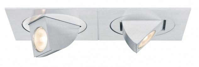 Paulmann 925.46 Premium Einbauleuchte Set Xara 2er eckig kippb LED 1x(2x5W) 350mA 12VA 120x60mm Alu gebürstet