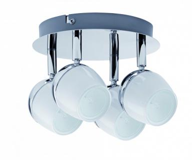 4x3W LED Deckenleuchte Spotlight Theta GU10 230V Chrom/Weiß Metall/Glas
