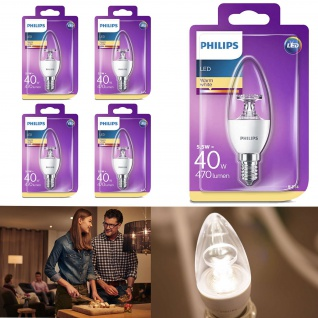 4er Pack 8718696454770 Philips LED Leuchtmittel E14 LED Kerze 5, 5W ~ 40W