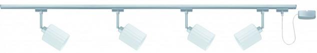 Paulmann URail Schienensystem Set Zyli 4x40W GZ10 Chrom matt/Weiß 230V Metall/Glas