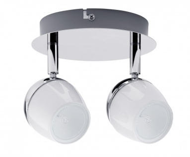 2er LED Deckenleuchten Spotlight 2x3W GU10 230V Chrom/Weiß Metall/Glas