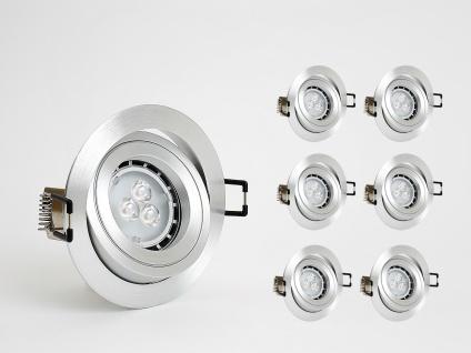 Dimmbare Einbauleuchten Set 6x4W GU10 Einbaustrahler inkl. LED Warm Weiss 3000K