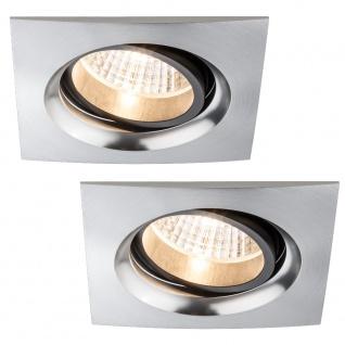 Paulmann Premium Einbauleuchte Set Daz schwenkbar eckig LED 2x7W 18VA 230V/700mA 110x110mm Alu gebürstet/Alu