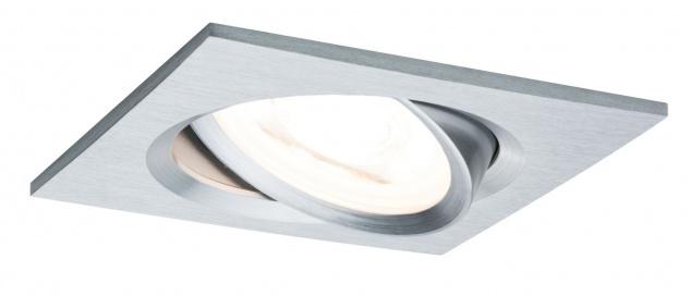 Paulmann 936.18 Premium Einbauleuchte Set Nova eckig schwenkbar dimmbar LED 1x7W 230V GU10 51mm Alu Zink gedreht
