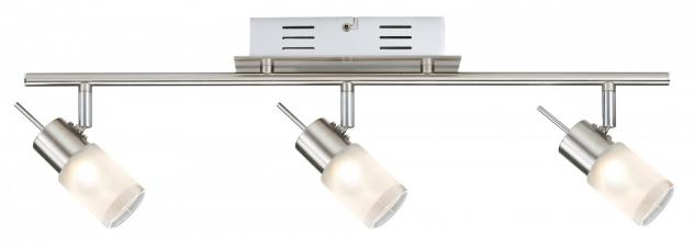 Spotlights ZyLed Balken 3x3W Eisen gebürstet 230V/12V Metall/Glas