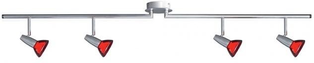 664.71 Paulmann Spotlights Barelli Stange 4x40W GZ10 Chrom matt/Rot transp 230V Metall/Glas