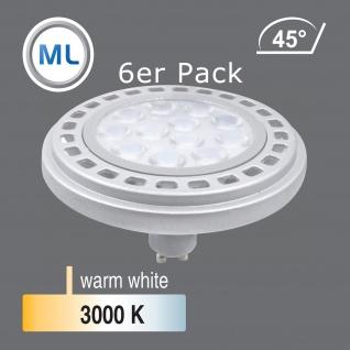 6x Qpar111 LED Leuchtmittel 12W GU10 3000K Warmweiss 230V 900lm 45° Astrahlwinkel ersetzt 90W Halogen ES111