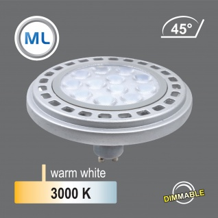 qpar111 LED Leuchtmittel dimmbar 12W GU10 3000K Warmweiss 230V 900lm Silber 45° Reflektor 111mm Durchmesser - ersetzt 90W Halogen