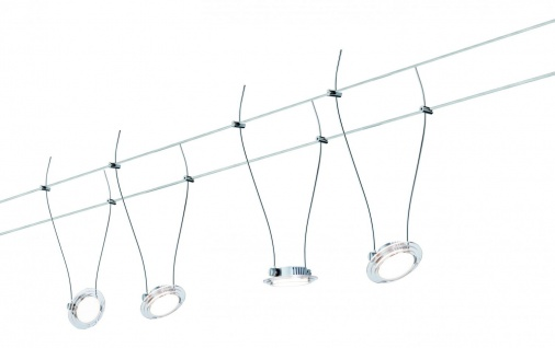 Wire Systems DC Set LED Twist Coin 4x4W Chr matt/transp 230V/12V DC 30VA Metall
