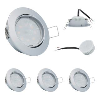 3er Set Einbauleuchte 5W 3000K 230V 400lm Chrom matt inkl. austauschbare LED Modul geringe Einbautiefe