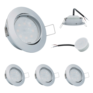 3x LED Einbauleuchte Set Chrom matt 5W 3000K 230V Modul flache Einbautiefe 35mm
