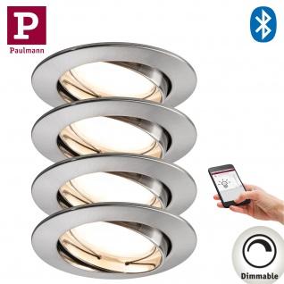 4er Pack Paulmann 500.07.04 SmartHome Bluetooth Goal Einbauleuchte Set LED 5, 8W dimmbar schwenkbar 230/24V 51mm Eisen gebürstet/Alu Zink
