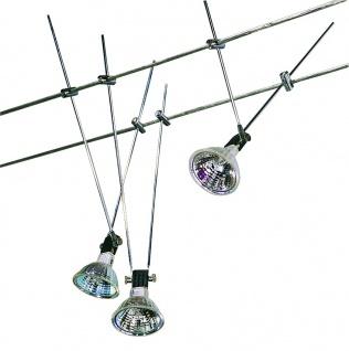 Hi Lite Seil Komplett Set Wire System 3x20W GU5, 3 Chrom 230/12V 60VA Metall