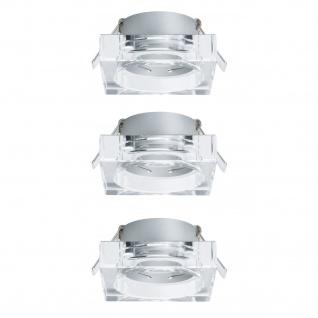 Paulmann 2Easy Premium Einbauleuchte 3er Spot-Set Cristal Quadro starr 51mm Klar/Glas