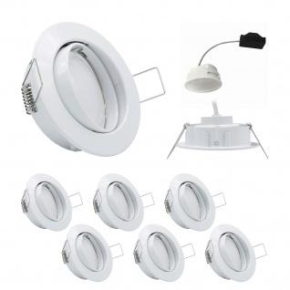 6x LED Einbauleuchten Set Weiss 5, 5W 3000K 230V Modul flache Einbautiefe 35mm