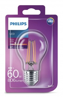Philips 8718696573839 E27 LED Classic Leuchtmittel 6W 806lm Filament Warmweiß
