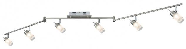 Paulmann 665.62 Spotlights ZyLed Stange 6x3W Eisen gebürstet 230V/12V Metall/Glas