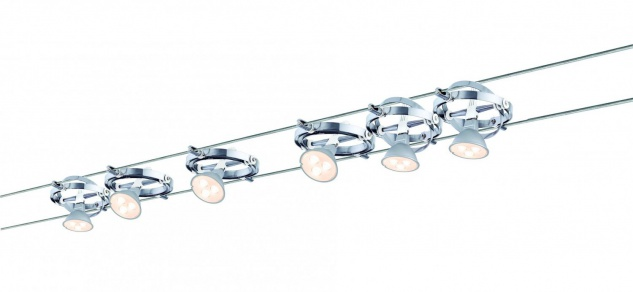 Wire System Cardan LED 6x4W GU5, 3 Chrom/Weiß 230/12V 80VA Metall