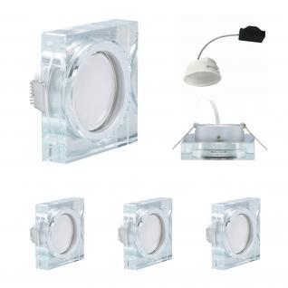 3x LED Einbauleuchten Quadro inkl. 5, 5W 3000K 230V Modul flache Einbautiefe 35mm Klar/Glas