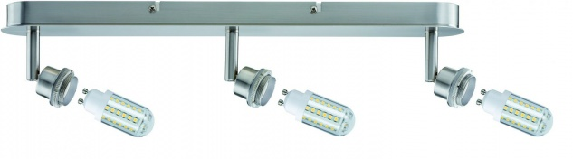 Paulmann Spotlights DecoSystems LED Balken 3x3W GZ10 230V Eisen gebürstet Metall