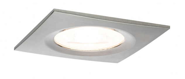 Paulmann Premium Einbauleuchte Set Nova eckig dimmbar LED 1x7W 230V GU10 51mm Eisen gebürstet/Alu Zink