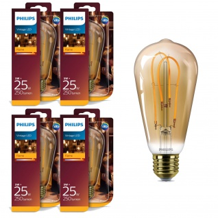 4x Philips 8718696743058 E27 Vintage LED Leuchtmittel 5W (25W) 2000k Flame 250Lm