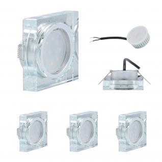 3x LED Einbauleuchten Quadro inkl. 5W 3000K 230V Modul flache Einbautiefe 35mm Klar/Glas