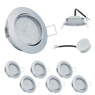 6er Set Einbauleuchte 5W 3000K 230V 400lm Chrom matt inkl. austauschbare LED Modul geringe Einbautiefe