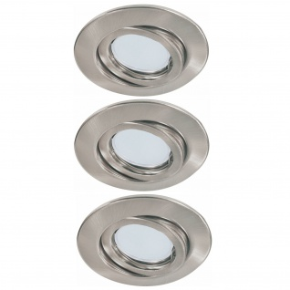 Paulmann 983.56 Quality Einbauleuchte Set schwenkbar Energiesparlampe 3x11W 230V GU10 51mm Eisen gebürstet