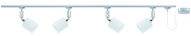 Paulmann U-Rail Einzelteile 95096 URail System Spot Zyli 4x3W Chrom/Weiß 230V/12V Metall/Glas
