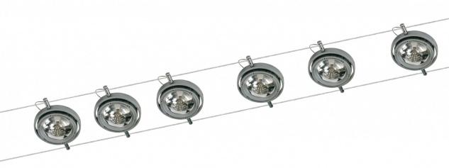 971.80 Paulmann Seil Komplett Set Wire System Powerline 300 6x50W G53 Alu 230/12V 300VA Metall/Kunststoff