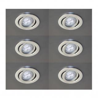 6x Einbauleuchten mit LG LED 4, 3W GU10 230V warmweiss Set Einbaulampen Chrom schwenkbar 3000K