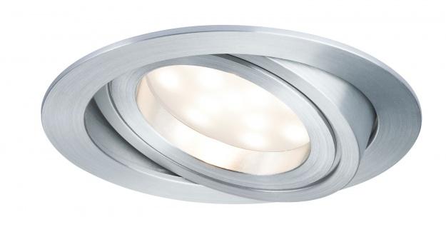 Paulmann Premium Einbauleuchte Set Coin dimmbar satiniert rund schwenkbar LED 1x7W 2700K 230V 51mm Alu Zink gedreht
