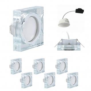 6x LED Einbauleuchten Quadro inkl. 5, 5W 3000K 230V Modul flache Einbautiefe 35mm Klar/Glas