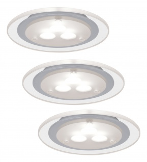 Paulmann 935.43 Möbel Einbauleuchte Set Deco LED 3x3W 3000K 12VA 230V/350mA 100mm Chrom matt/Klar/Metall