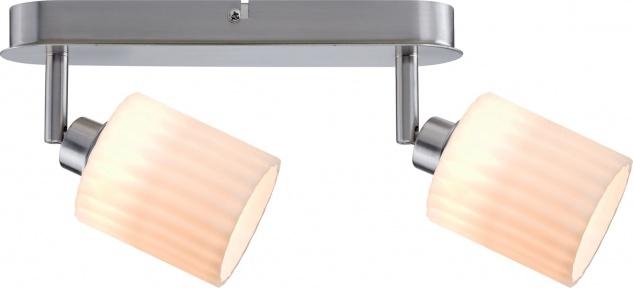 Paulmann 601.39 Spotlights Zylino Balken 2x3W Eisen gebürstet/Weiß 230V Metall/Glas