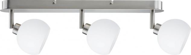 Paulmann 601.44 Spotlights Wolbi Balken 3x9W GZ10 Eisen gebürstet/Weiß 230V Metall/Glas