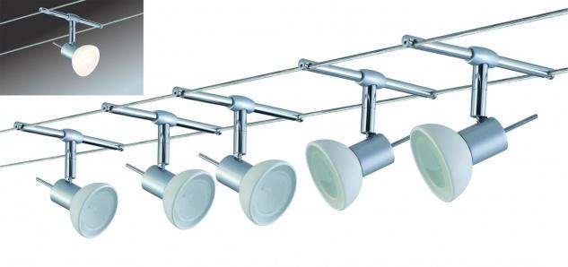 975.32 Paulmann Seil Komplett Set Wire System Sheela 105 5x20W GU5, 3 Chrom matt/Opal 230/12V 105VA Metall/Glas