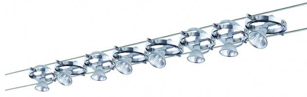 972.04 Paulmann Seil Komplett Set Wire System Cardan 300 8x35W GU5, 3 Alu/Chrom 230/12V 300VA Metall