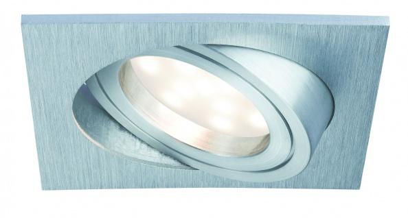 Paulmann Premium Einbauleuchte Set Coin dimmbar satiniert eckig schwenkbar LED 1x7W 2700K 230V 51mm Alu gebürstet/Alu Zink