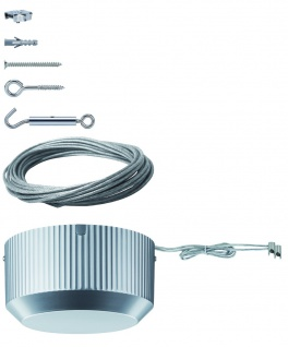 5308 Paulmann Seil Komplett Set Wire System Light&Easy Basissystem 150 10m Grau 230/12V 150VA Metall