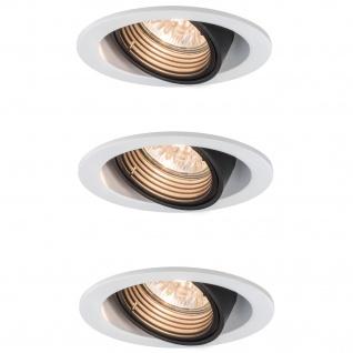 3x Paulmann Premium Einbauleuchten Daz rund dimmbar schwenkbar 8W LED 230V GU10 Weiß m./Schw. 926.81.3.LED 2700K