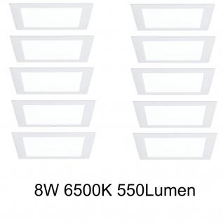 10er Pack Paulmann Einbauleuchten 92613 Premium EBL Set Panel eckig LED 1x8W 6500K 8VA 230V/350mA 210mm Weiß m/Alu