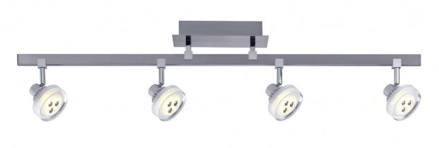 Paulmann 601.97 Spotlight Gloria LED Stange 4x5W Nickel gebürstet 230/12V Metall/Glas
