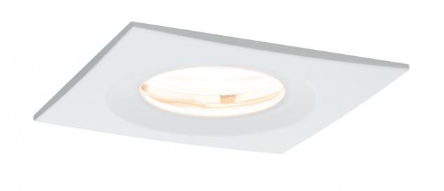 Paulmann 936.28 Premium Einbauleuchte Set Nova eckig dimmbar LED IP65 1x7W 230V GU10 51mm Weiß matt/Alu Zink