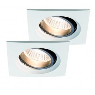 Paulmann Premium Einbauleuchte Set Daz schwenkbar eckig LED 2x7W 18VA 230V/700mA 110x110mm Weiß m./Al
