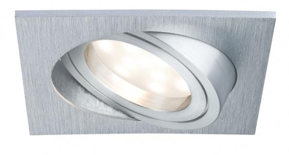 Paulmann Prem Einbauleuchte Set Coin satiniert eckig schwenkbar LED 1x6, 8W 2700K 230V 51mm Alu gebürstet/Alu Zink