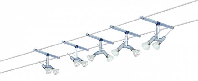974.84 Paulmann Seil Komplett Set Wire System Spice Ginger 210 5x(2x20W) GU4 Chrom matt 230V/12V 210VA Metall
